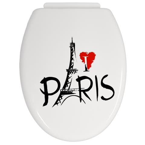 Parisienne Round Toilet Seat PP -Pattern 16.8 L x 14 W - 16 1/2L X 14W x 1.5 H