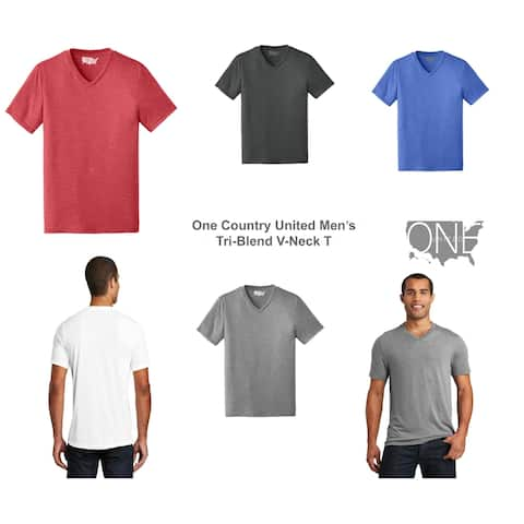 One Country United Men's Perfect Tri Blend Rib Knit V Neck Tee XS-4XL