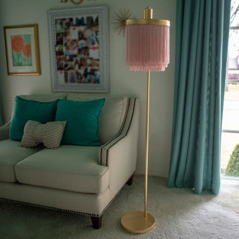 Framboise Fringe Shade Floor Lamp - Gold Leaf