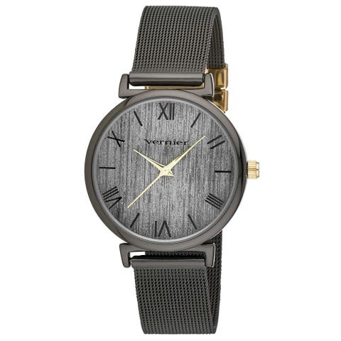 Vernier Womens Round Case Black and Gold Tone Mesh Watch