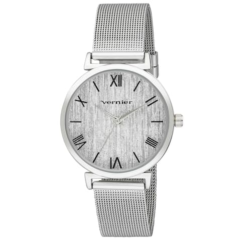Vernier Womens Round Case Silver Tone Mesh Watch