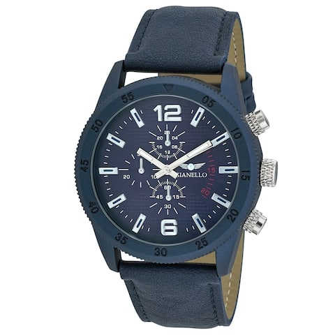 Gianello Mens GNL7718BL Blue Faux Chronograph Italian Strap Bracelet Watch - One size