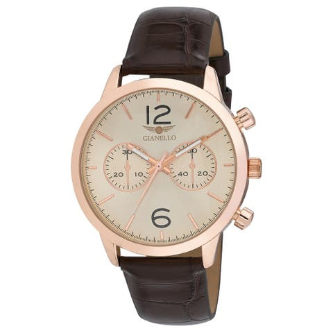 Gianello Mens GNL7719RG Rosegold Aligator Strap 42mm Bracelet Watch - Rose Gold - One size