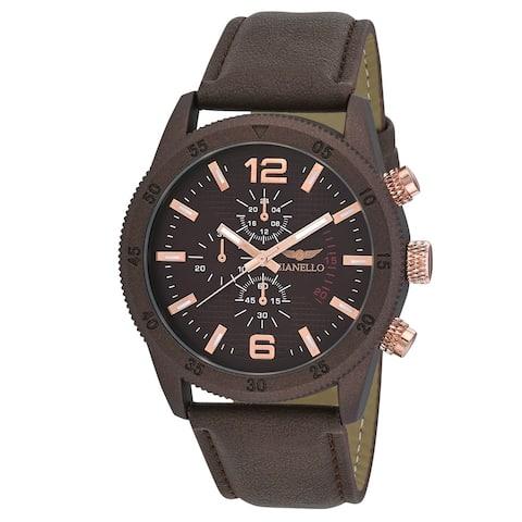 Gianello Mens GNL7718DB Dark Brown Faux Chronograph Italian Strap Bracelet Watch