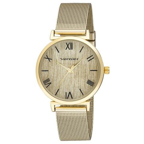Vernier Womens Round Case Gold Tone Mesh Watch