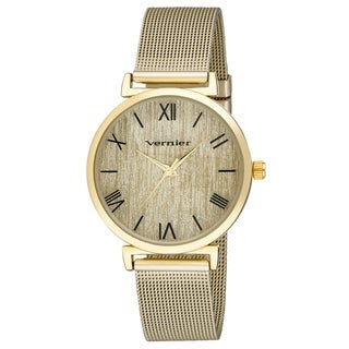 Vernier Womens Round Case Gold Tone Mesh Watch