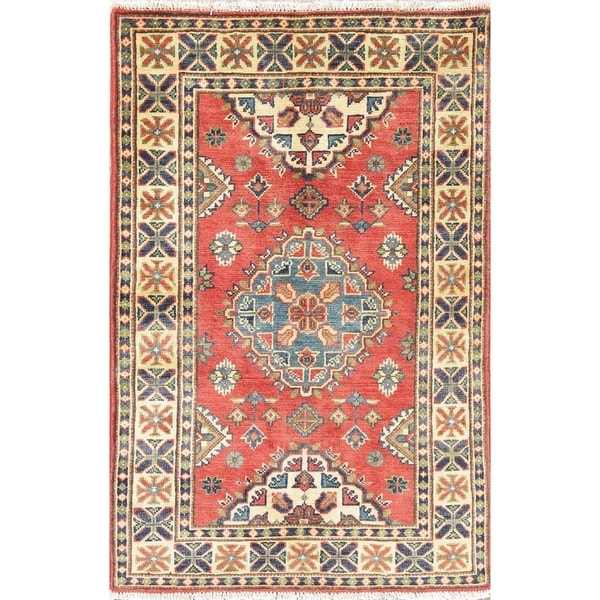 "Pakistan Kazak-Chechen Hand Knotted Traditional Oriental Area Rug - 4'0"" x 2'8"""