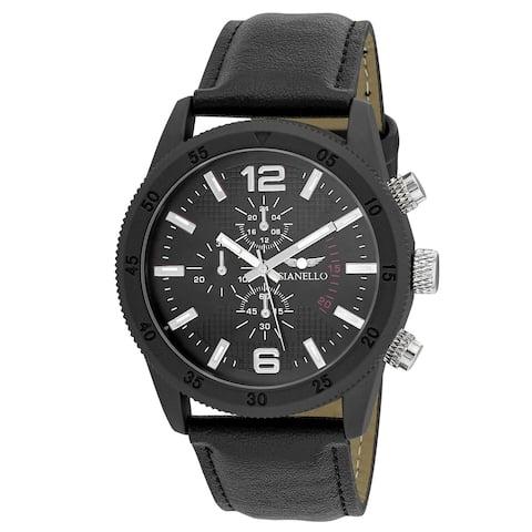 Gianello Mens GNL7718BK Black Faux Chronograph Italian Strap Bracelet Watch - One size