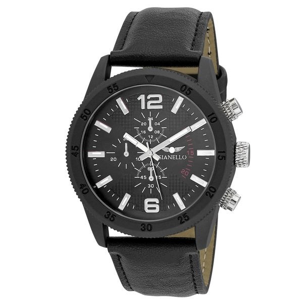 Gianello Mens GNL7718BK Black Faux Chronograph Italian Strap Bracelet Watch - One size