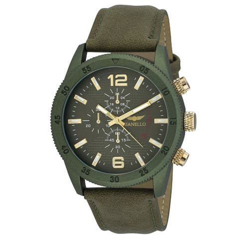 Gianello Mens GNL7718GN Green Faux Chronograph Italian Strap Bracelet Watch