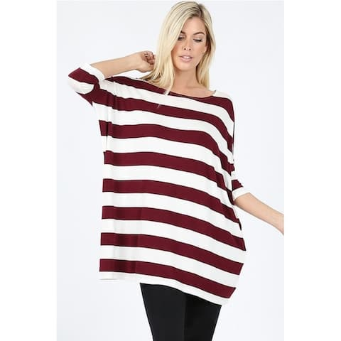 JED Women's Drop Shoulder Comfy Fit Striped Tunic Top