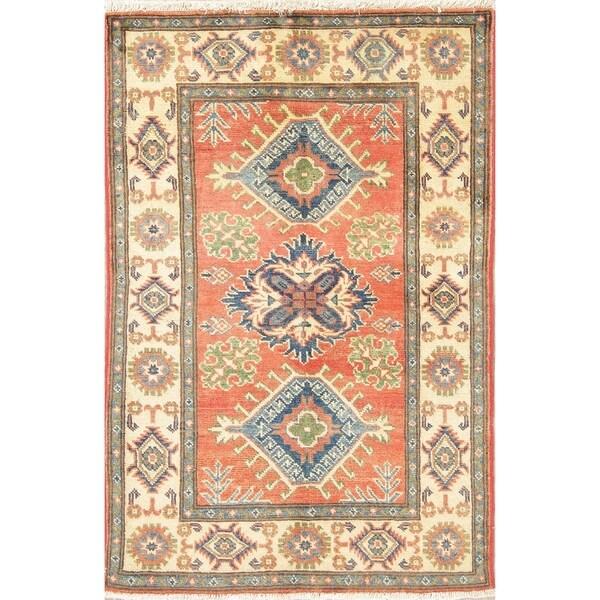 "Oriental Kazak Southwestern Pakistan Hand Knotted Wool Area Rug - 4'1"" x 2'8"""