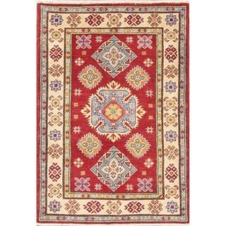 "Oriental Red Southwestern Kazak Pakistan Hand Knotted Wool Area Rug - 4'0"" x 2'10"""