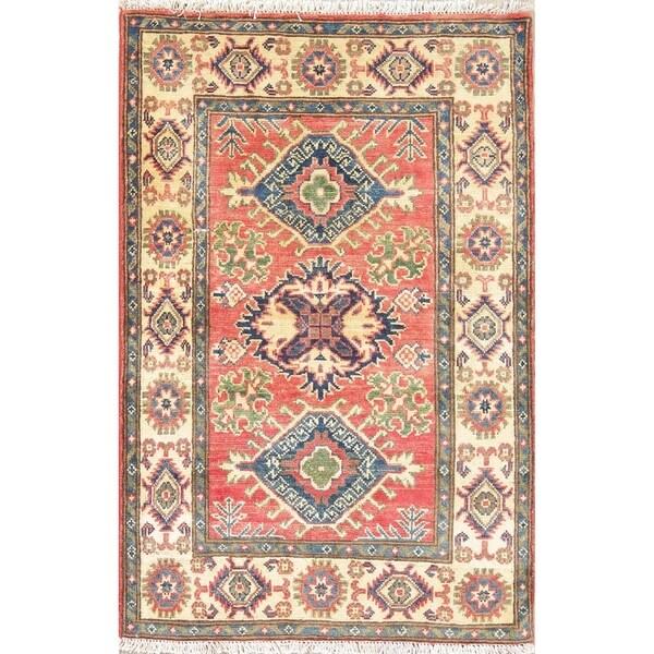 "Orienal Kazak Hand Knotted Traditional Pakistan Wool Area Rug - 4'1"" x 2'9"""