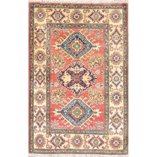 "Orienal Kazak Hand Knotted Traditional Pakistan Wool Area Rug - 4'1"" x 2'9"""