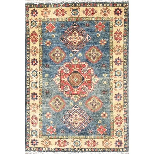 "Faded Distressed Kazak Pakistan Oriental Hand Knotted Wool Area Rug - 3'10"" x 2'8"""