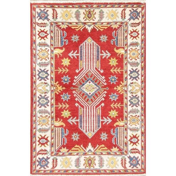 "Southwestern Hand Knotted Wool Kazak Pakistani Oriental Area Rug - 3'11"" x 2'8"""