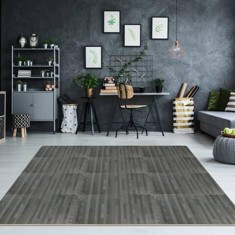 Interlocking Floor Mat - Gray Wood Print, 12 Pieces and Borders