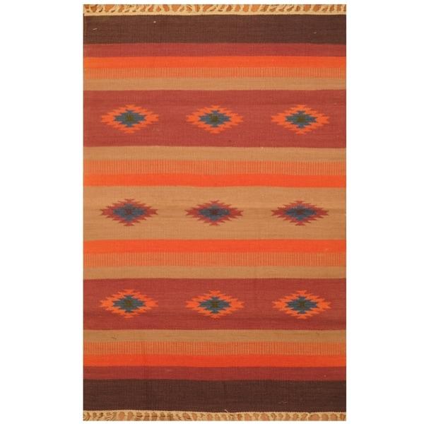 Handmade One-of-a-Kind Wool Kilim (India) - 2' x 3'