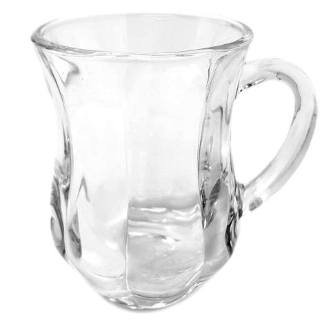 Set of 12 Turkish Style Tea/Espresso Glass cup with Handles, 4 1/2 Oz.