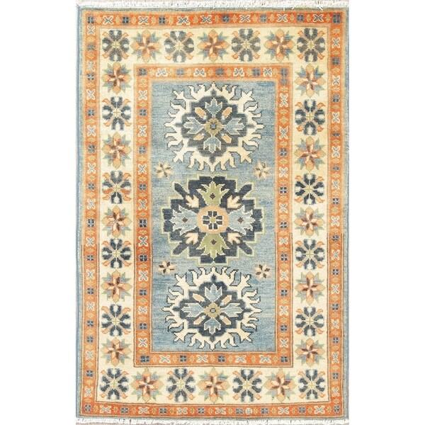 "Oriental Kazak Pakistani Traditional Hand Knotted Wool Area Rug - 4'1"" x 2'8"""