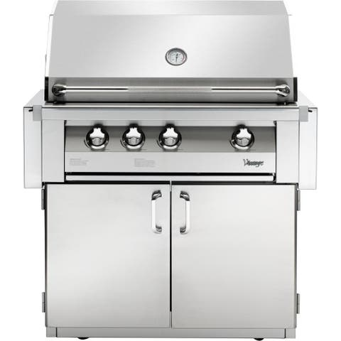 36-In. Built-In Natural Gas Grill in Stainless with 2-Door Cart