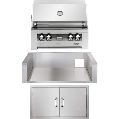30-In. Built-In Natural Gas Grill in Stainless with Double Access Doors and Insulated Jacket
