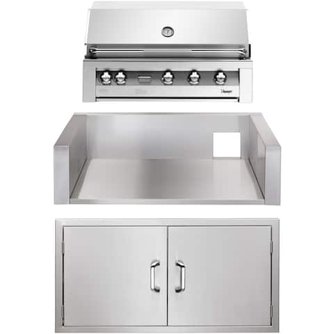 42-In. Built-In Natural Gas Grill in Stainless with Double Access Doors and Insulated Jacket