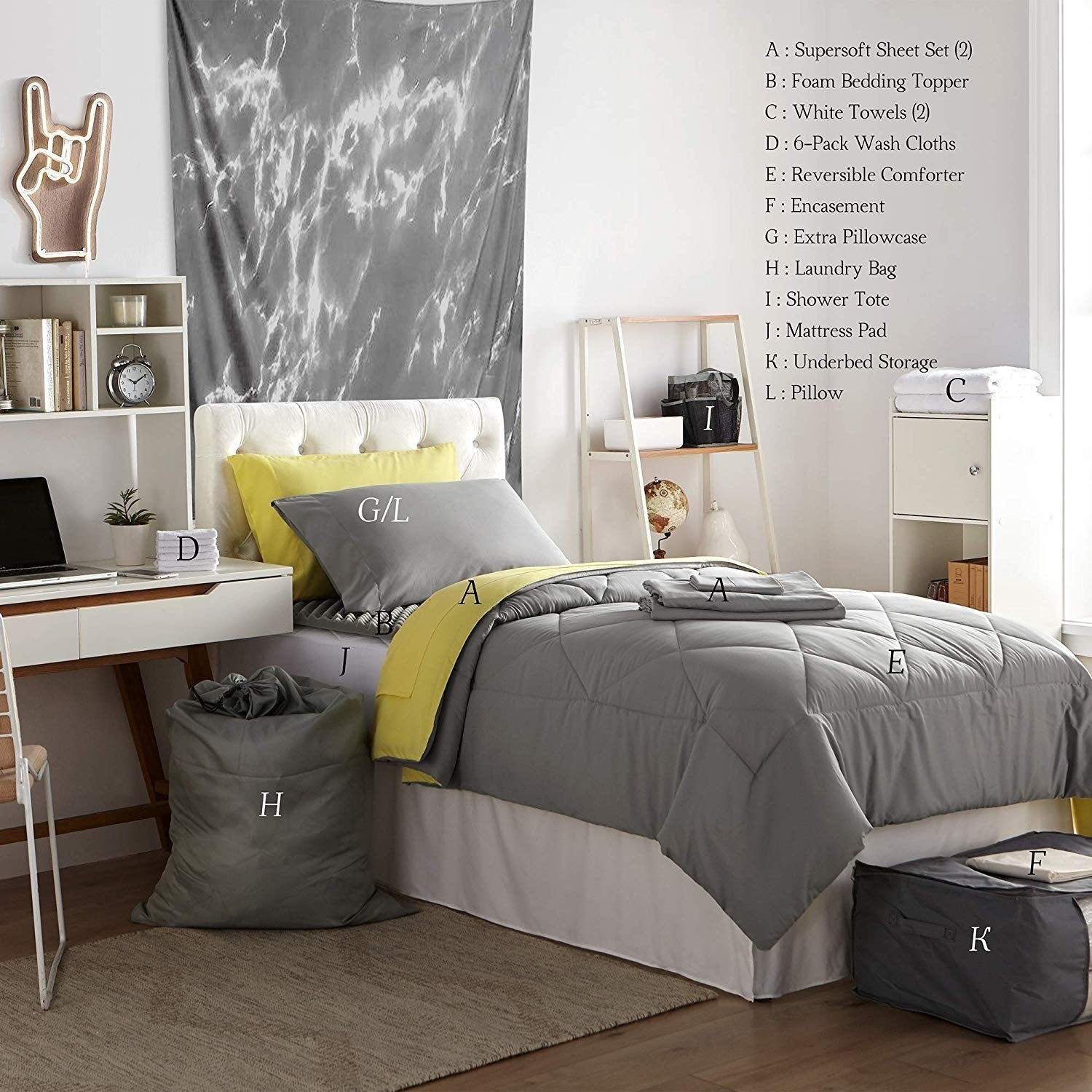 Porch Den Hargis Limelight Yellow Alloy Grey Twin Xl College Bedroom Set Overstock 28165765