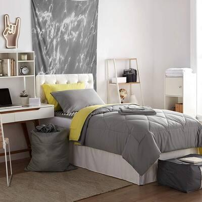 Porch & Den Hargis Limelight Yellow/Alloy Grey Twin XL College Bedroom Set