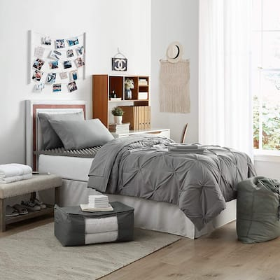 Porch & Den Hargis Alloy Color Pin Tuck Twin XL College Bedroom Set