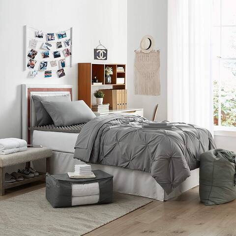 College Bedding Pack - Twin XL - Pin Tuck Alloy Color Set