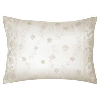 Porch & Den Serena Cream Embroidered Decorative Pillow