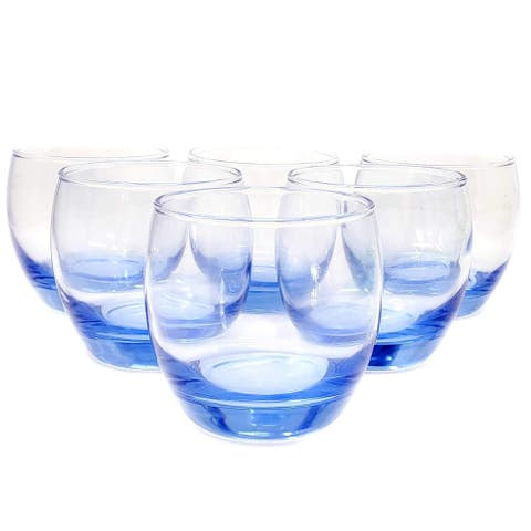 Classic 6 Pc Cobalt Blue Glass Cup Tumbler Set for Wine Whiskey Home Party
