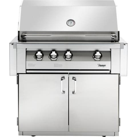 36-In. Built-In Natural Gas Grill in Stainless with Sear Zone and 2-Door Cart
