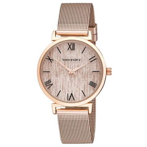 Vernier Womens Round Case Rose Gold Tone Mesh Watch - Rose Gold - Rose Gold