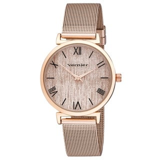 Link to Vernier Womens Round Case Rose Gold Tone Mesh Watch - Rose Gold - Rose Gold Similar Items in Women's Watches