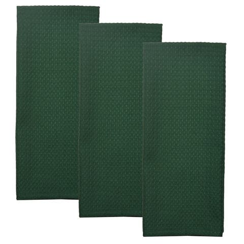 Dunroven House Solid Waffle Weave Tea Towel Set of 3
