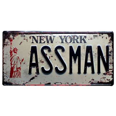 "ASSMAN License Plate 6"" x 12"""