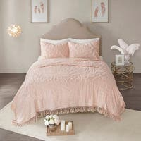 Madison Park Virginia Blush 3-Piece King - Cal King Size Tufted Cotton Chenille Medallion Fringe Coverlet Set (As Is Item)