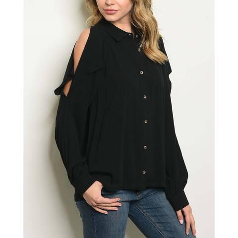 JED Women's Cold Shoulder Button Down Shirt