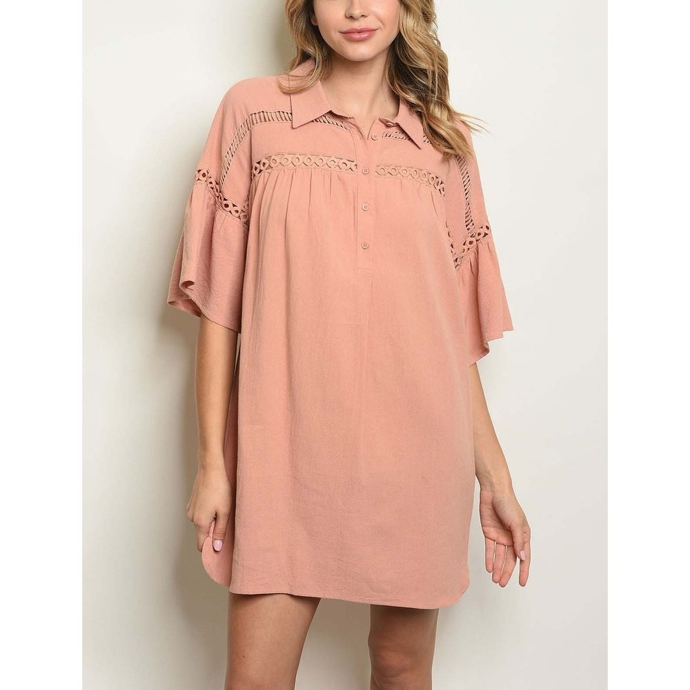 JED Womens Collared Bell Sleeve Long Tunic Top