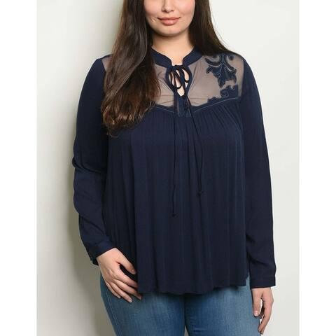 JED Women's Plus Size Mesh Detail Long Sleeve Top