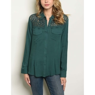 JED Women's Lace Inset Long Sleeve Button Down Shirt