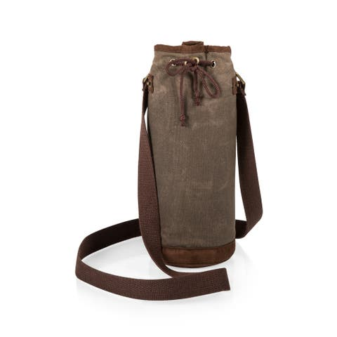 Waxed Canvas Wine Tote, (Khaki Green)