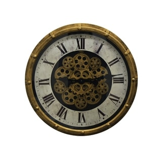 Steampunk Gold & Black Metal Wall Clock Moving Gears & Marble Texture Clock Face Roman Numerals