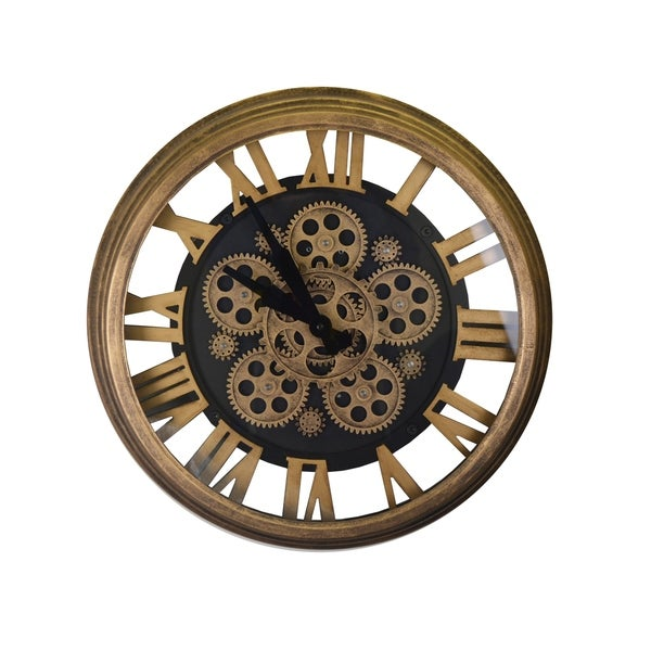 Steampunk Style Gold & Black Metal Wall Clock Moving Gears Roman Numerals