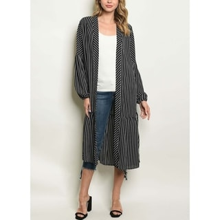 JED Women's Black & White Stripes Long Cardigan