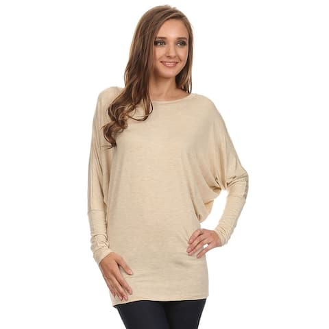 Women's Solid Casual Long Dolman Sleeve Loose Fit Knit Tunic Top TeeDress