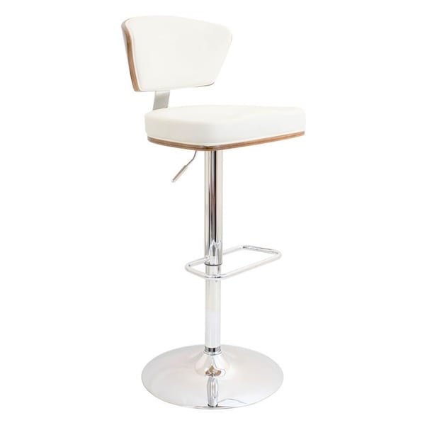 Superb Ossho White Chrome Faux Leather Metal Adjustable Stool Gmtry Best Dining Table And Chair Ideas Images Gmtryco